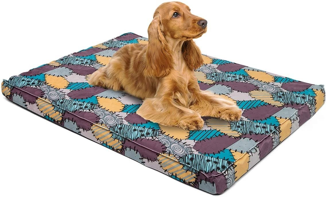 The mat, which is rectangular and made of foam with a cover that is patterned after Sally's ragdoll skin