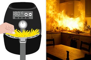 An air fryer packed with fries and a kitchen on fire