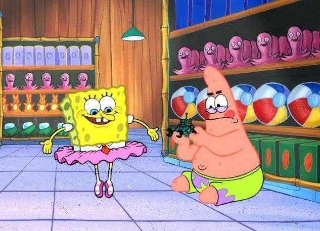 Spongebob in a tutu and Patrick playing with a robot