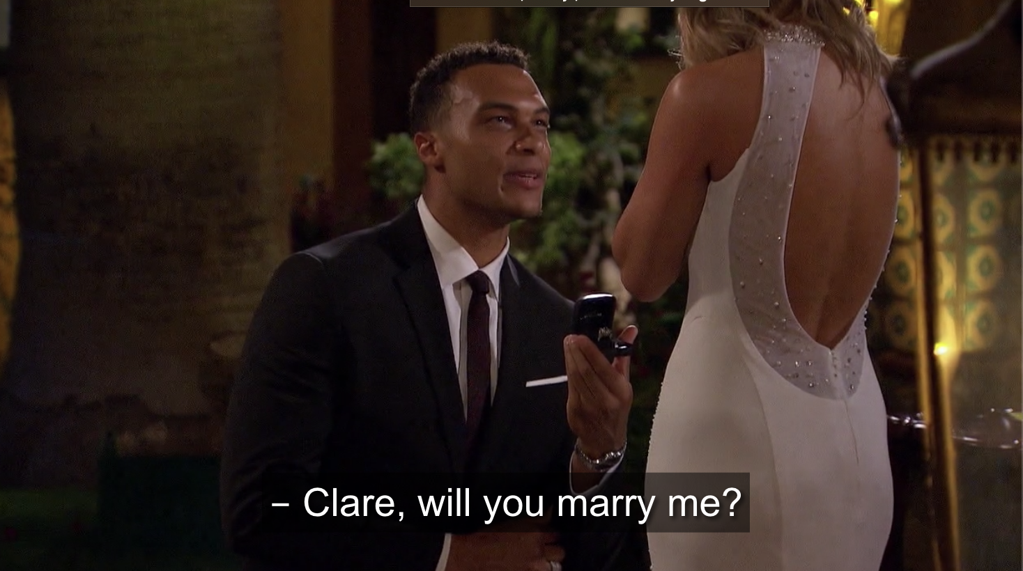 Dale asking Clare for her hand in marriage