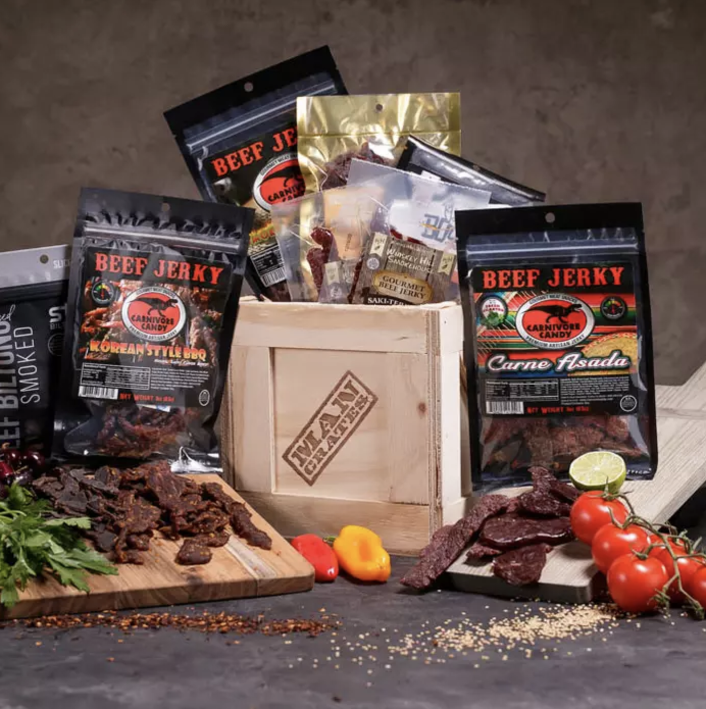 The crate surrounded by a variety of jerky