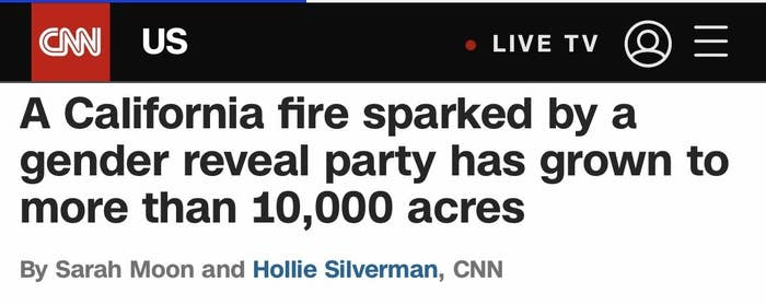 A CNN story about a wildfire causes by a gender reveal party