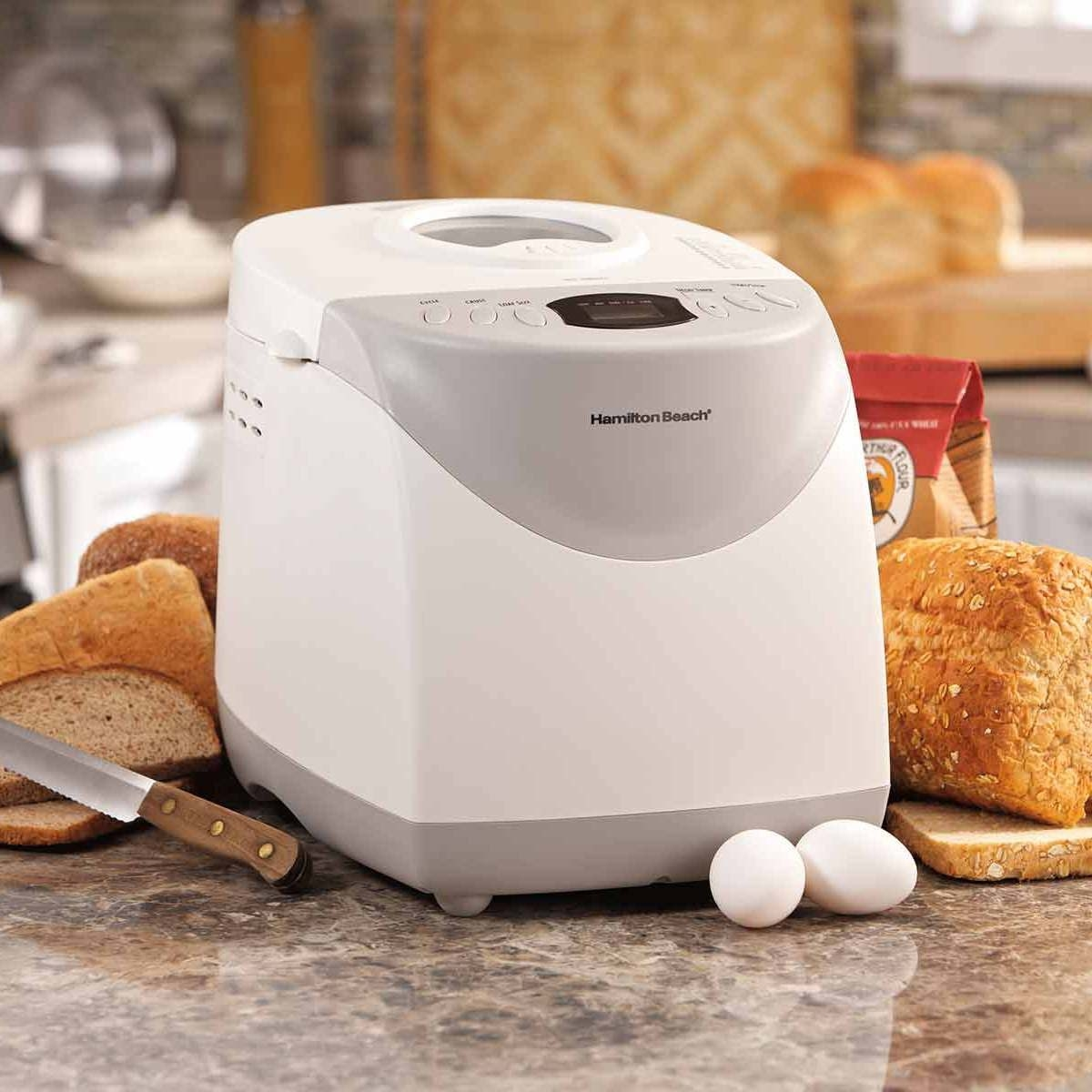 The bread maker, shown on a countertop with bread