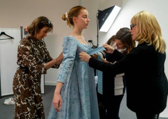 Phoebe Dynevor gets fitted for a Bridgerton costume