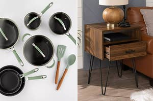 A pots and pans set and a side table