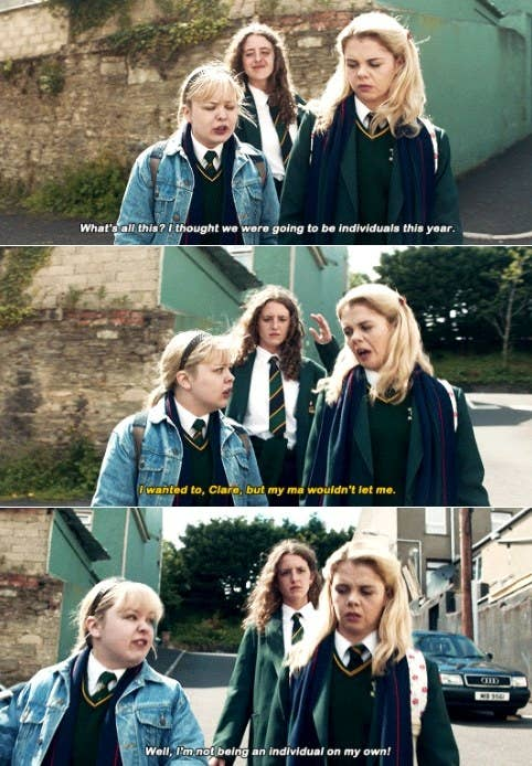"""Erin tells Clare her mother wouldn't let her wear a denim jacket to school, Clare says """"Well I'm not being an individual on my own"""""""