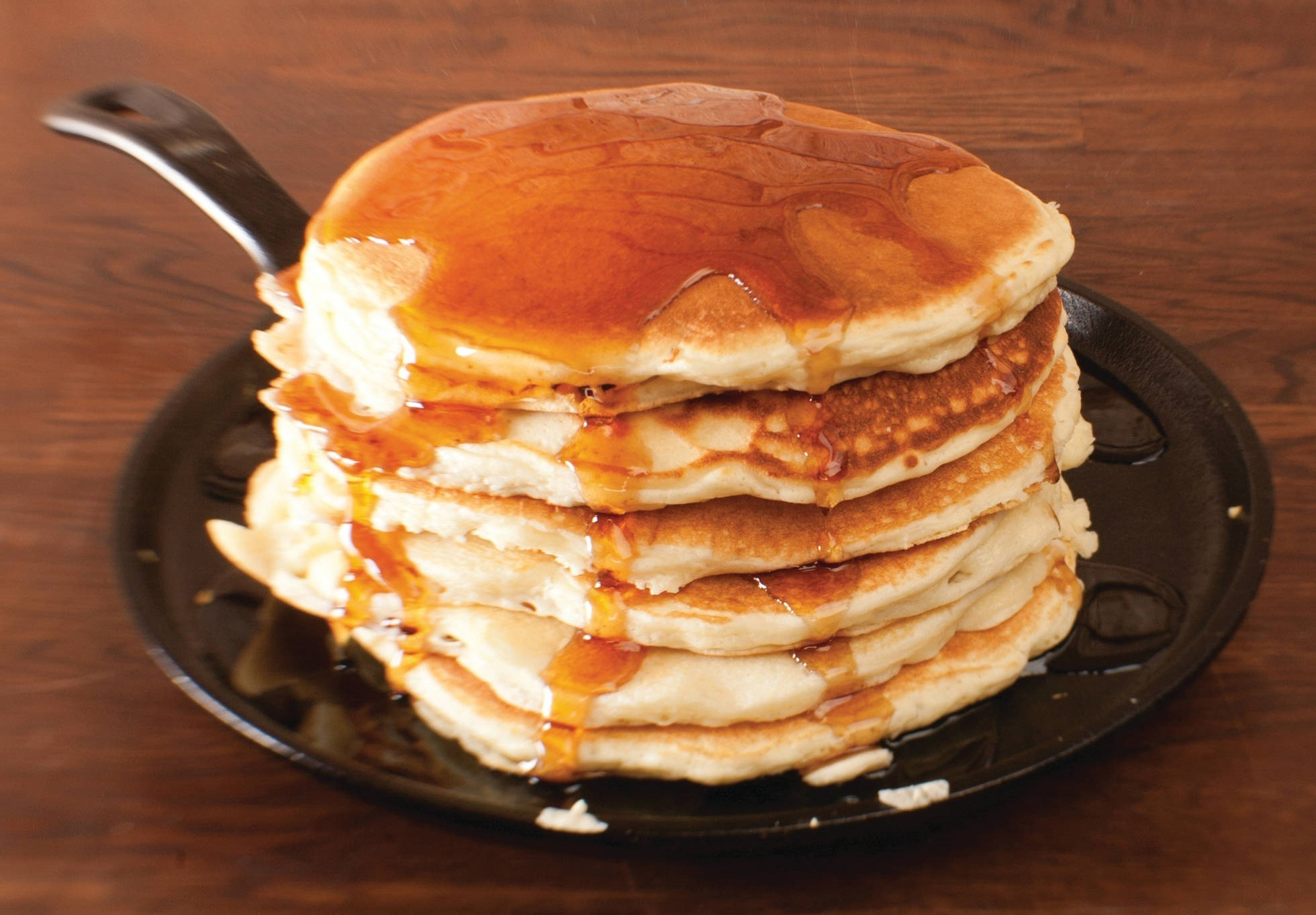 The griddle, with pancakes on it