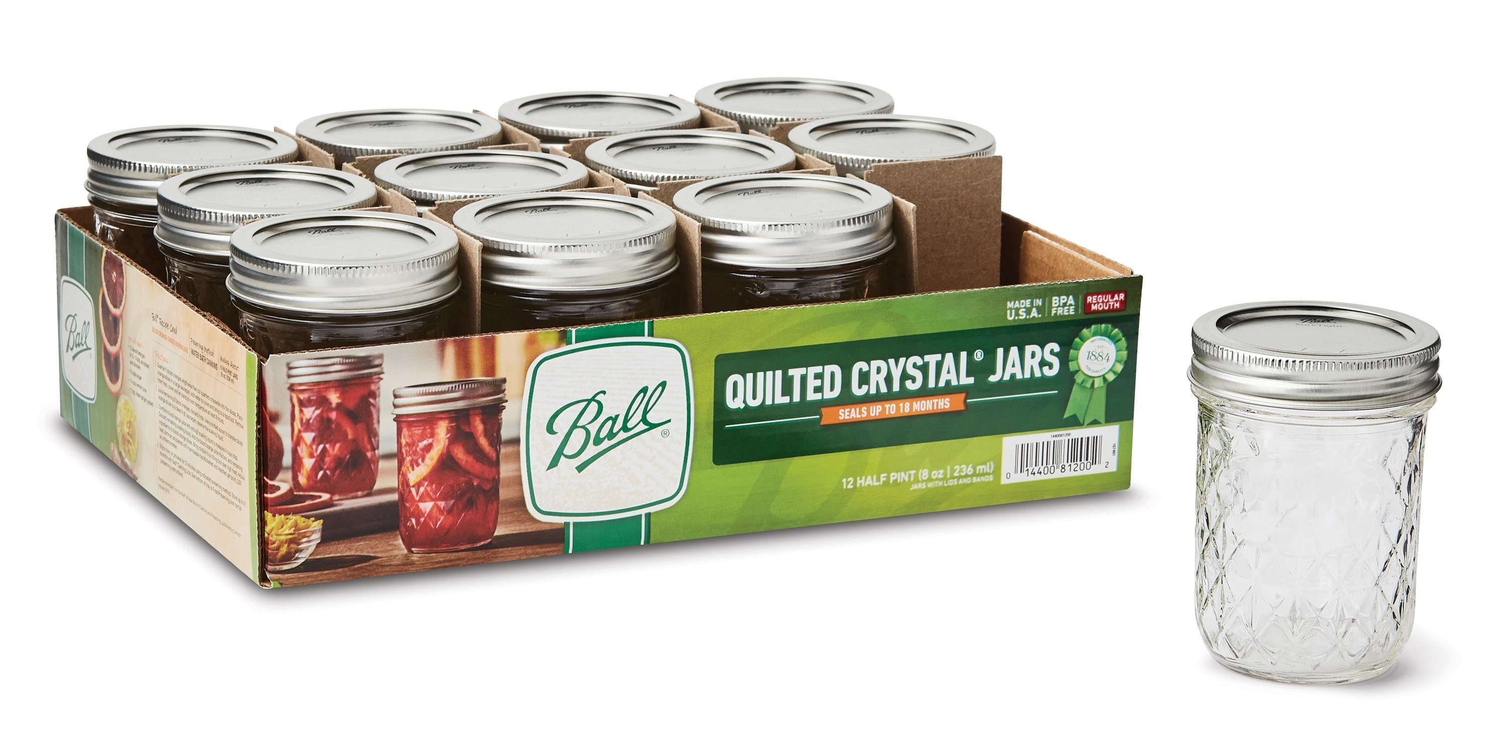 The set of mason jars in a box, with one removed and set aside to demonstrate the diamond-cut pattern