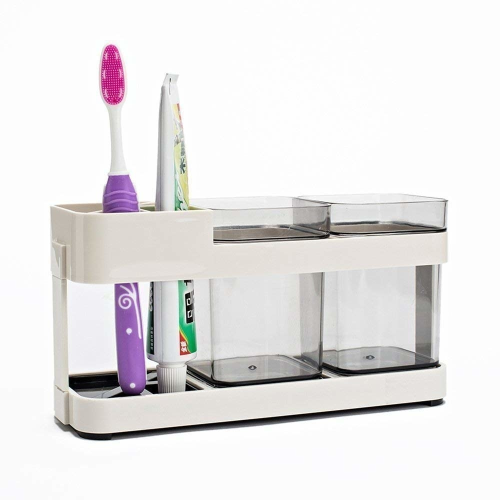 A toothpaste and toothbrush organiser