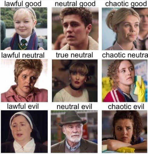 A meme designated Clare as lawful good, James as neutral good, Erin as chaotic good, Mary as lawful neutral, Sarah as true neutral, Orla as chaotic neutral, Sister Michael as lawful evil, Granda as neutral evil, Michelle as chaotic evil