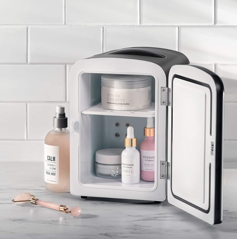 Skincare inside the mini fridge