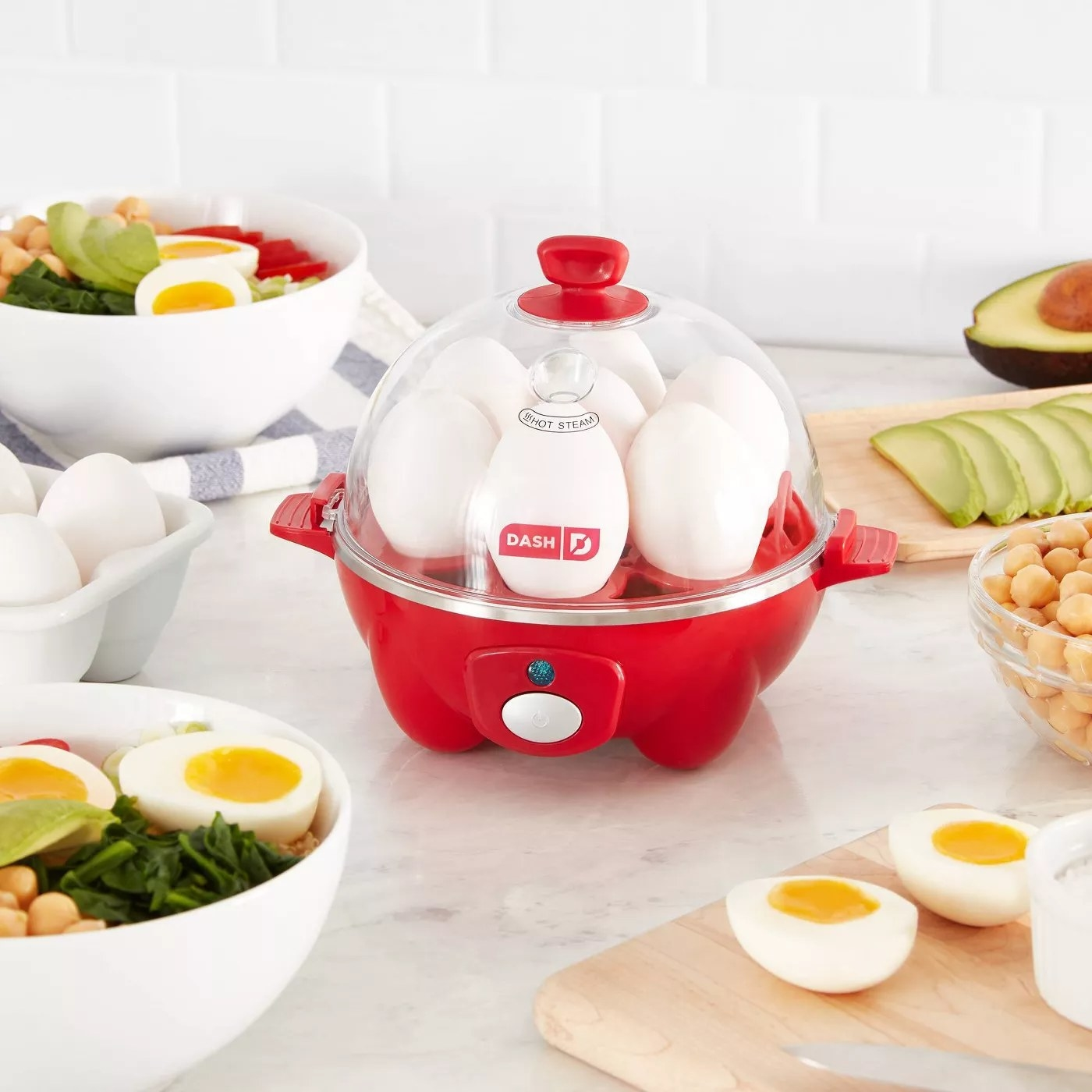 The cooker with eggs inside