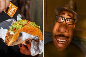 A woman is on the left pouring sauce on a taco  with a man on the right looking above