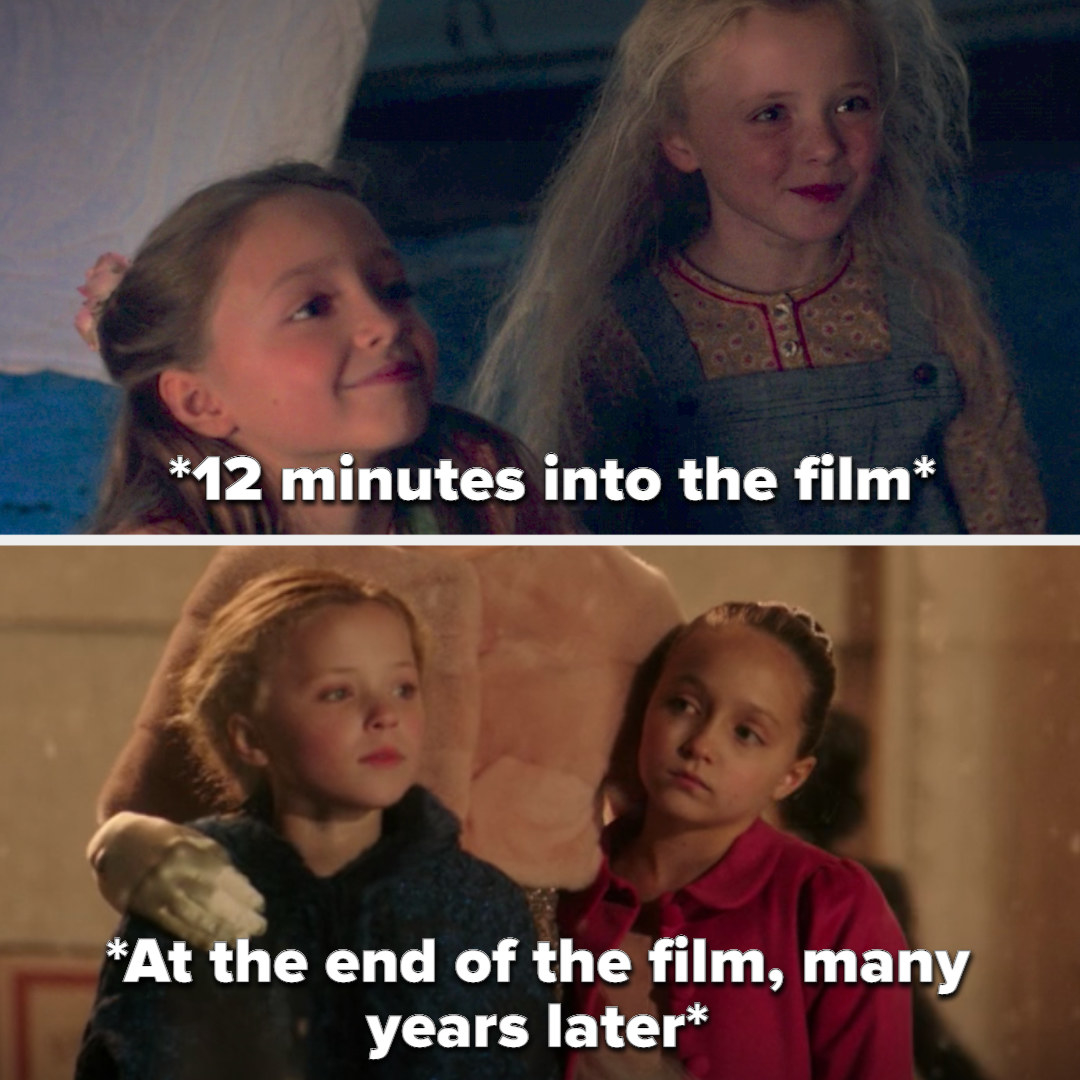 P.T.'s daughters at the same age at the start and end of the film