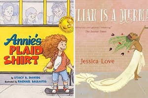 The covers of Annie's Plaid shirt and Julian is a mermaid