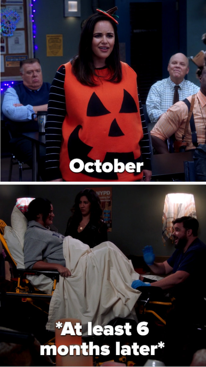 Amy heavily pregnant at Halloween in a pumpkin costume, then giving birth at least 6 months later