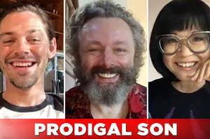 Tom Payne, Michael Sheen, and Keiko Agena posing for a thumbnail