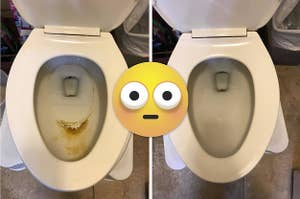 L: Toilet bowl with brown hard water stains R: The same toilet bowl looking clean after being polished with a pumice stone