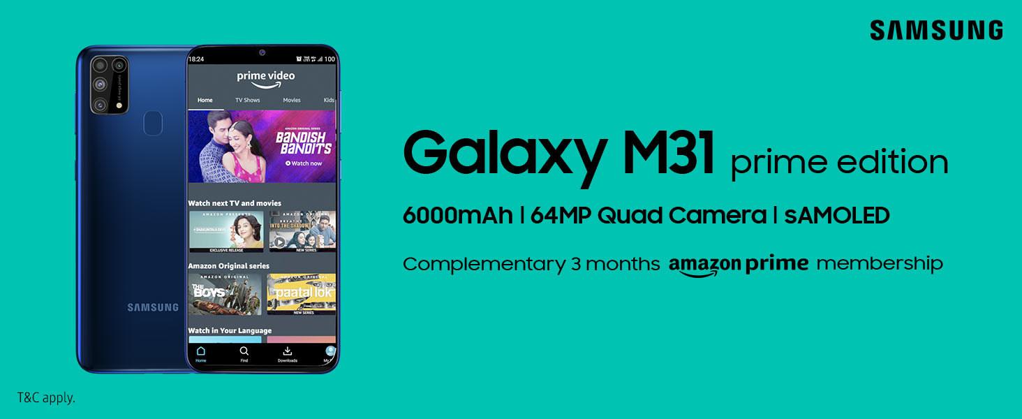 Samsung Galaxy M31 Prime edition against a blue background