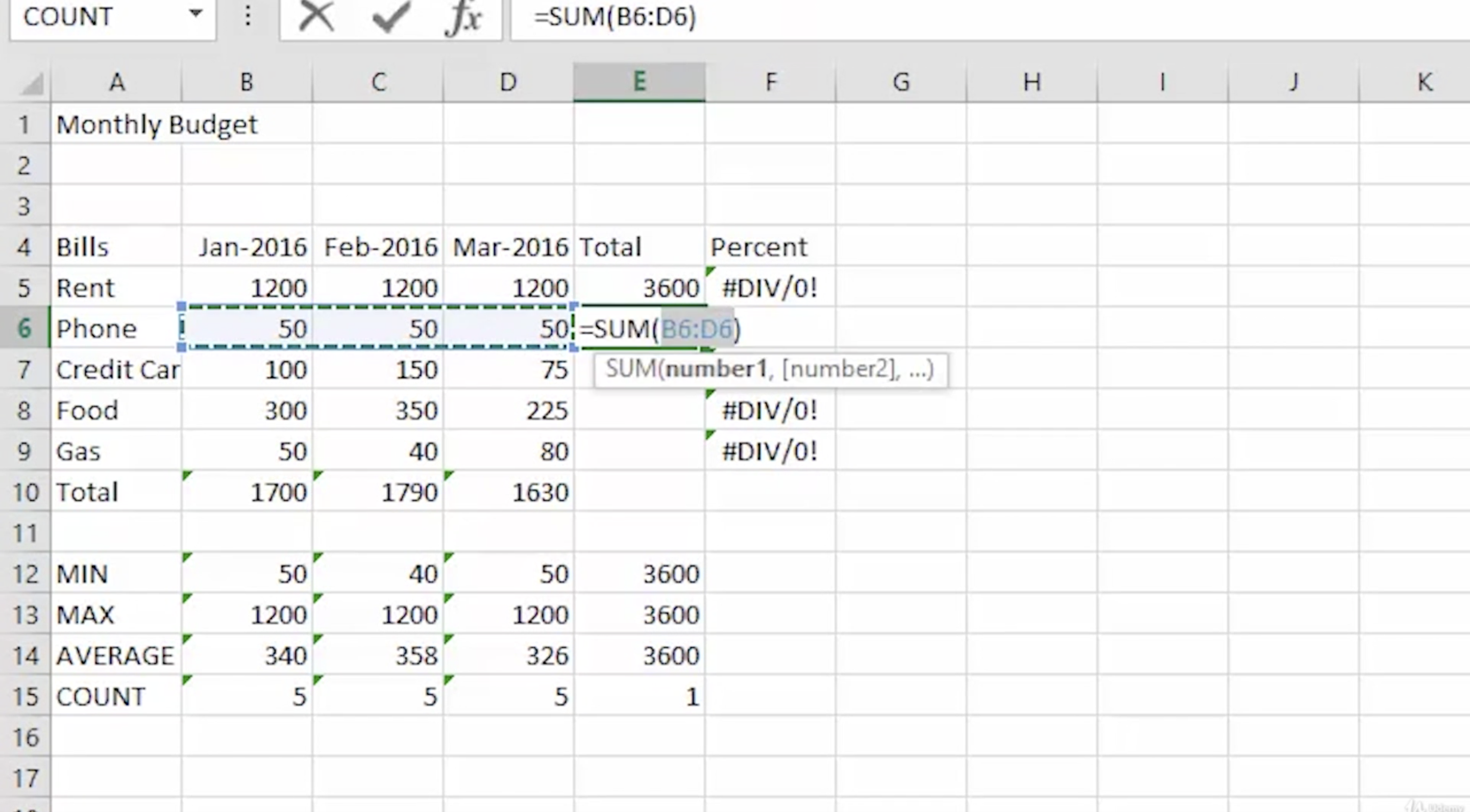 a table in Excel
