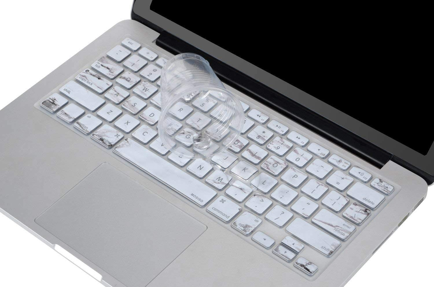 A silicone keyboard cover over a laptop keyboard and a cup of water spilling over it