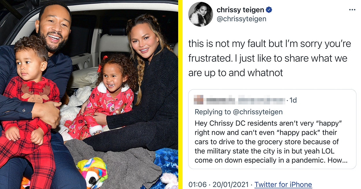 """Chrissy Teigen Responded After She Was Called """"Tone Deaf"""" For Traveling To Washington For Biden's Inauguration"""