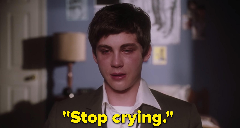 "Logan Lerman as Charlie Kelmeckis in the movie ""The Perks of Being a Wallflower."""