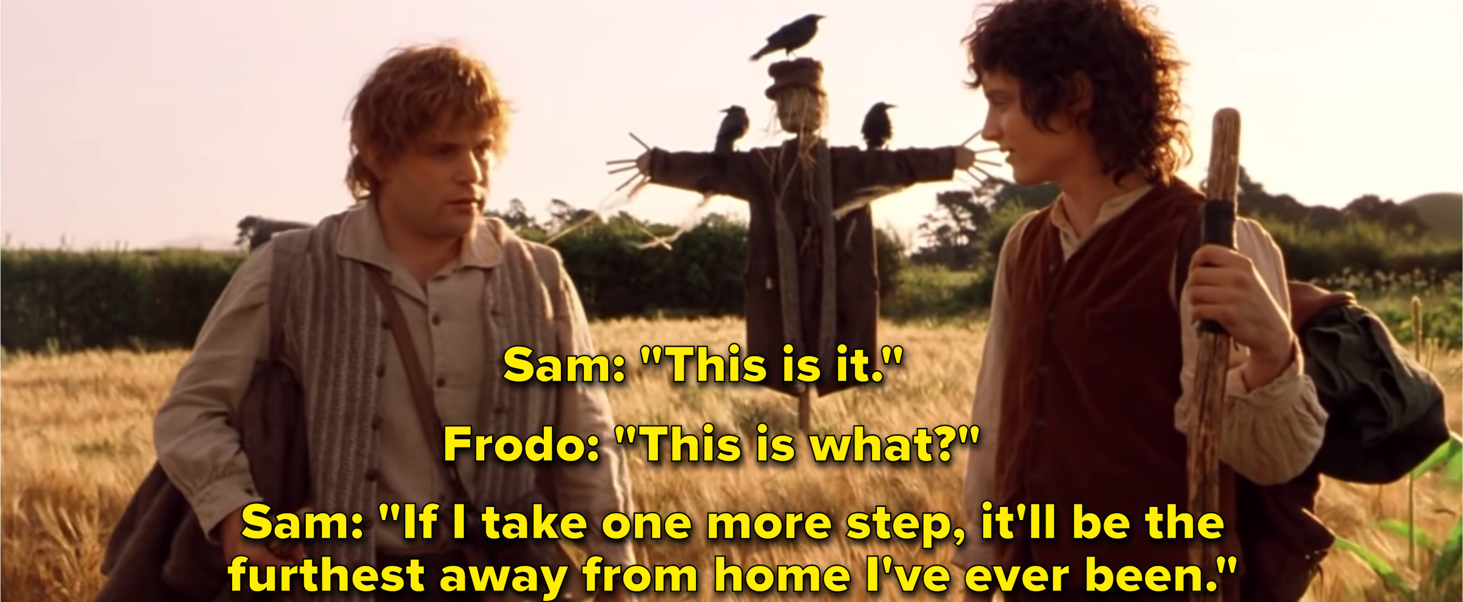 """Elijah Wood as Frodo Baggins and Sean Aston as Samwise Gangee in the """"Lord of the Rings"""" series."""