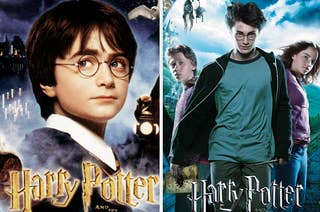 Movie posters for Harry Potter 1 and 3 with the full titles cut off