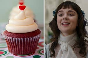 """On the left, a red velvet cupcake with a heart sprinkle on top, and on the right, Claudia Jessie as Eloise on """"Bridgerton"""""""
