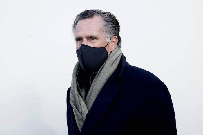 Mitt Romney wearing a black face masks as he arrives at for the inauguration of Joe Biden as the 46th US President.
