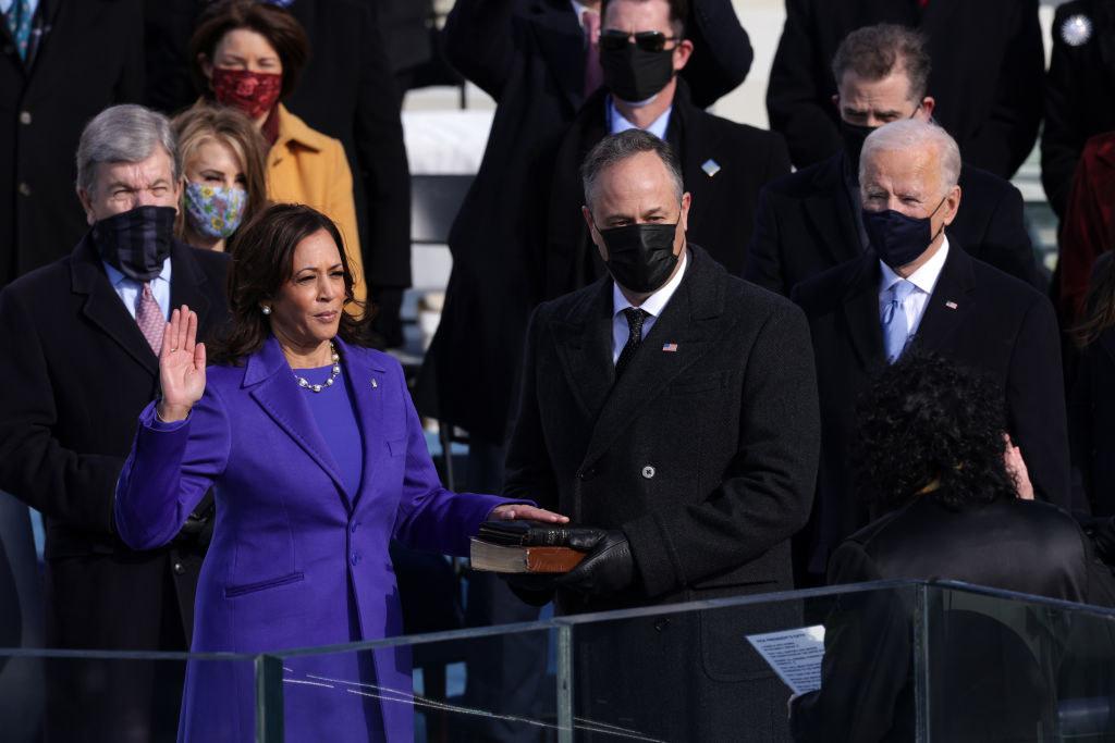 Kamala Harris taking the Vice Presidential oath of office