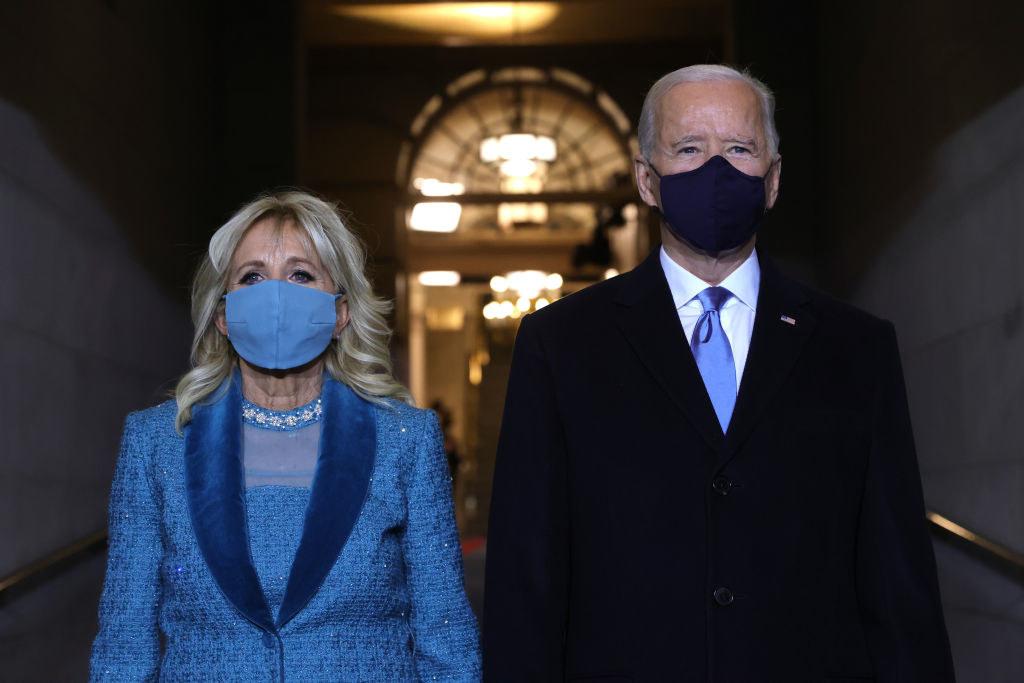 President Biden and First Lady Dr. Jill Biden wearing face masks