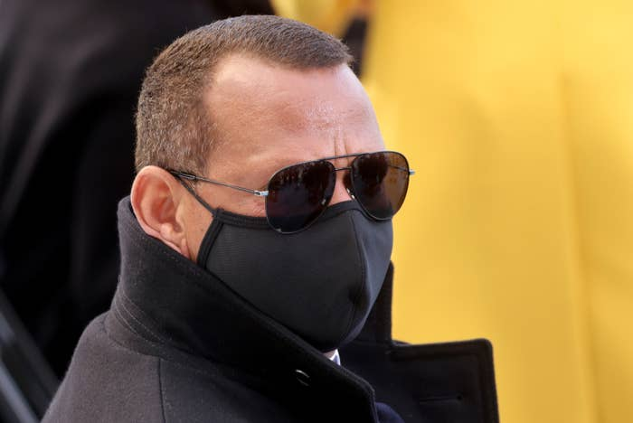 Former baseball player Alexander Rodriguez wearing a black face mask and sunglasses at the the inauguration of President Joe Biden.