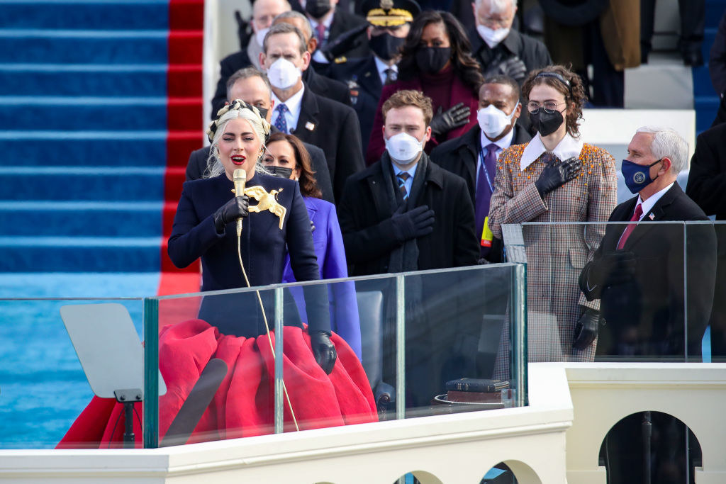 Lady Gaga singing the National Anthem