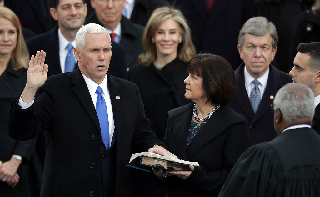Former Vice President Pence taking the oath of office