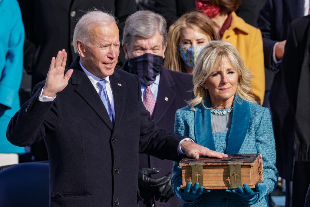 Biden taking the oath of office