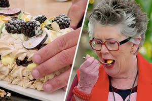 Paul Hollywood cutting into a cake topped with berries on the left, and a woman eating a piece of cake on the right