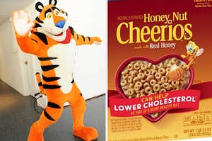 Tony the Tiger is on the left waving with a box of Honey Nut Cheerios on the right