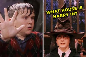 """On the left, Dudley from """"Harry Potter"""" pressing his hands on the glass of the snake enclosure, and on the right, Harry Potter wearing the Sorting Hat labeled, """"what house is Harry in?"""""""
