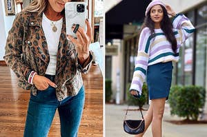 On the left, a model in a leopard moto jacket. On the right, a reviewer in a striped sweater