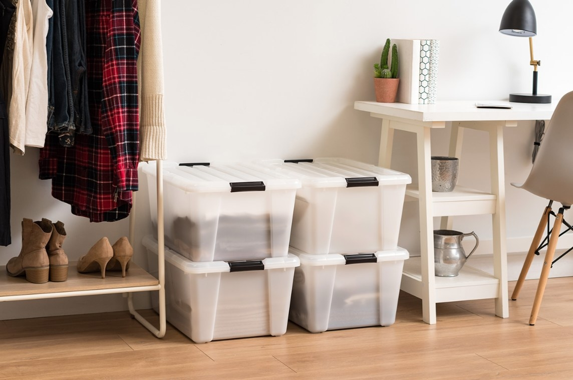 The four-pack of plastic storage boxes in white