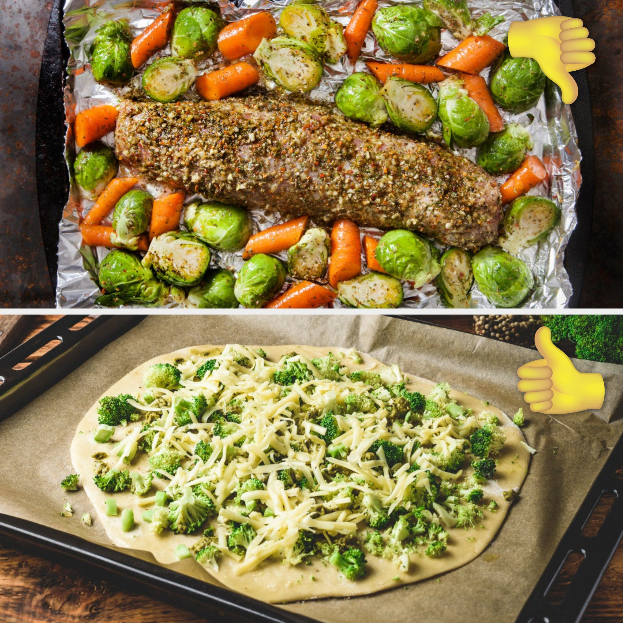 Raw garlic and herb pork with Brussels sprout and carrots on a baking sheet with tin foil; raw pizza with cheese and broccoli on baking sheet with parchment paper