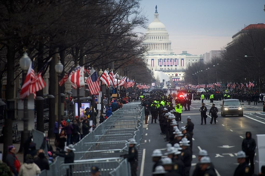 Barricades and traditional security for an inauguration