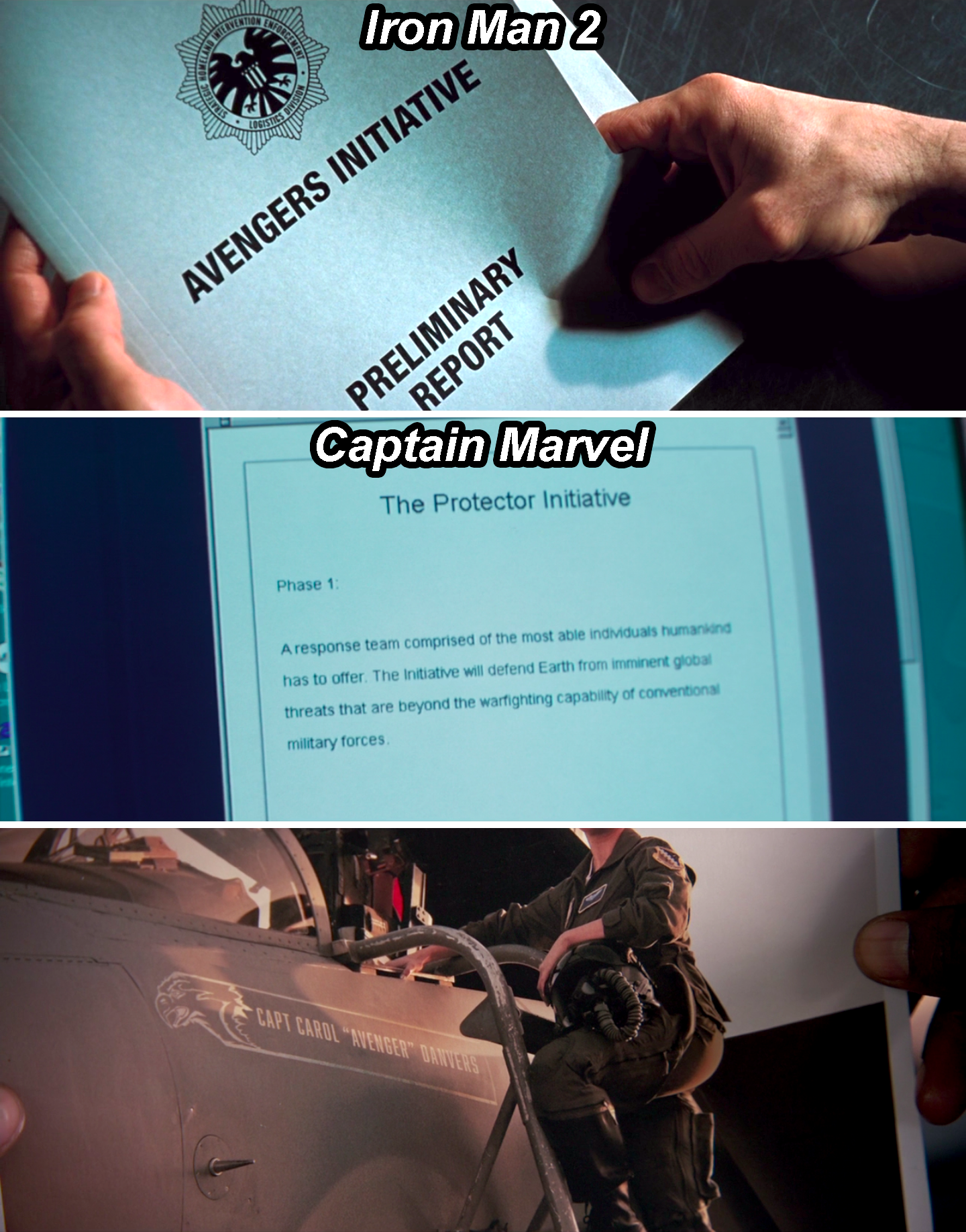 A folder in Iron Man 2 that says The Avengers Initiative, a document in Captain Marvel that describes The Protector Initiative, and Carol in front of her plane that says Avenger