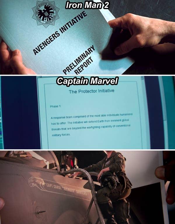 Folder di Iron Man 2 yang bertuliskan The Avengers Initiative, dokumen di Captain Marvel yang menggambarkan The Protector Initiative, dan Carol di depan pesawatnya yang bertuliskan Avenger
