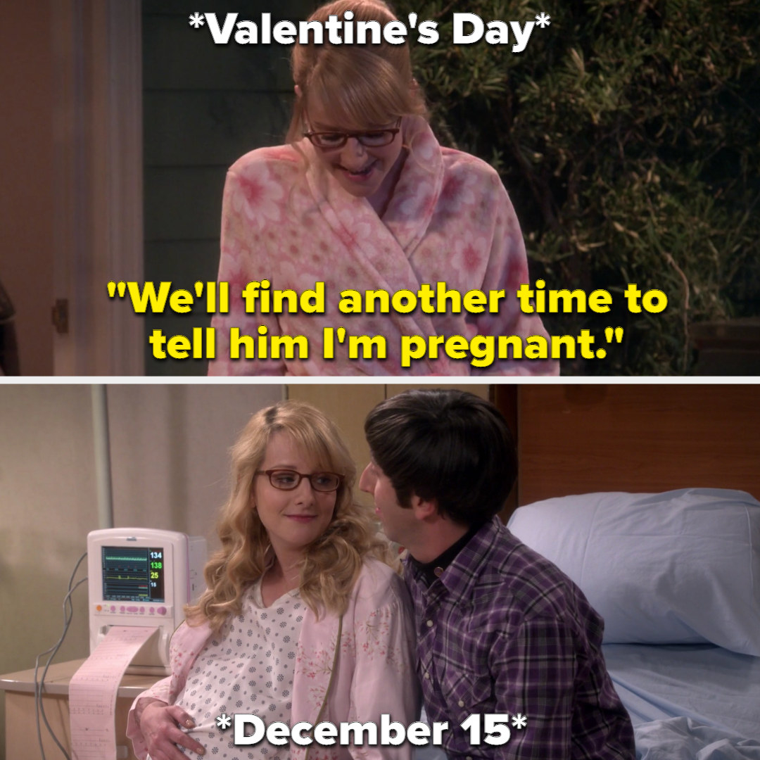 """Bernadette says """"We'll find another time to tell him I'm pregnant"""" on Valentine's day, then gives birth on December 15"""