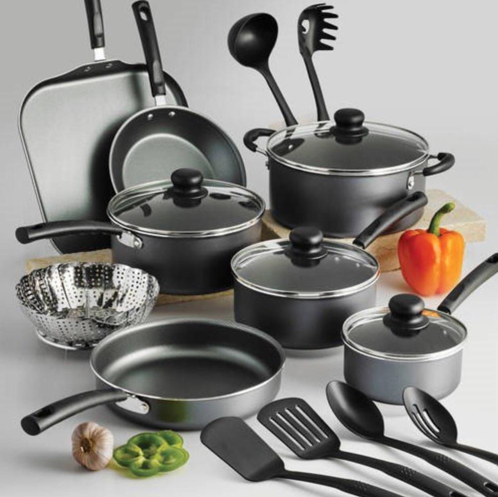 The 18 piece nonstick cookware set in steel gray