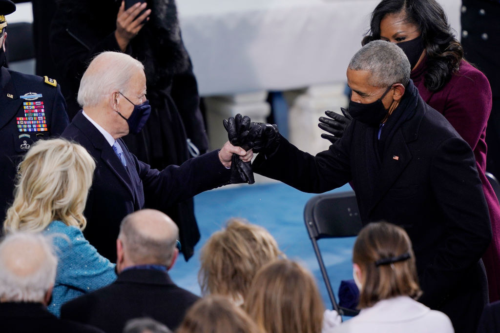 Obama greeting President Biden