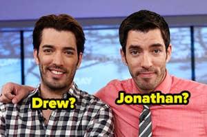 Drew and Jonathan Scott with each others names written over their photos